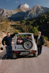 Marc, Rosane, Marc en Jacques op jeepsafari