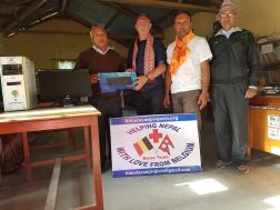 Donating computer in ambika school near Pokhara