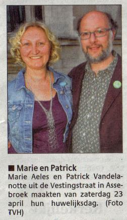 Patrick en Marie in het Brugs Handelsblad van 29 april 2011